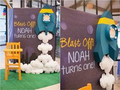 Noah's Outer Space Themed Party – Entrance / Photo-Op Area Star Wars 5, Rocket Birthday Parties, Anniversaire Star Wars, Astronaut Party, Outer Space Party, Noah, 1st Boy Birthday, 1st Birthday Party Themes, Birthday Banners