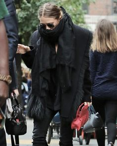 seriously wrapped up. #MaryKateOlsen in NYC.