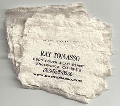 Paper artist Ray Tomasso's business card, letterpress printed on billowy cotton linter handmade paper. www.woodendeckle.com