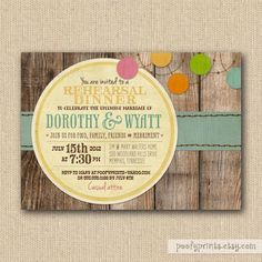 Rustic Rehearsal Dinner Invitations - Rustic BBQ Mixed Type Printable Invitations
