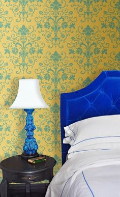 Bedroom Makeover using Elegant Allover Wall Stencils for Stenciling Wall Decor Art and Accent Walls - Royal Design Studio