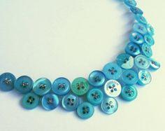 SALE Euphoria - tuquoise-blue button necklace