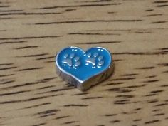 1 - Blue Dog Paw - Heart Charm - Silver Tone - 10MM - Floating Charm - Jewelry by GailsGiftHut on Etsy