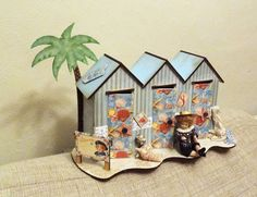 Beach huts from candy box crafts put together and covered with Graphic 45 papers Beach Huts, Candy Boxes, Graphic 45, Gingerbread, Paper, Crafts, Manualidades, Beach Cottages, Ginger Beard