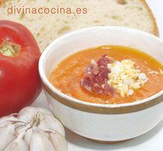 Salmorejo cordobés para 6 personas: 6 o 7 tomates grandes muy maduros - 2 piezas grandes de pan de miga apretada del día anterior (400 gr. aprox.) – 2 dientes de ajo ...