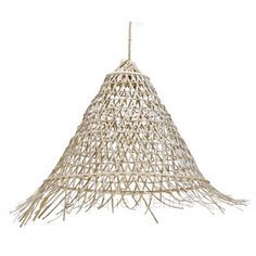 A BEAUTIFUL LARGE CONE SHAPED OPEN WEAVE RATTAN PENDANT LIGHT, FEATURING RAW ENDS, WHITE WASHED.