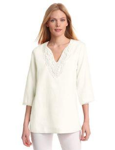 Jones New York Women's Tunic with Emobroidered Neckline $55.30 (30% OFF) + Free Shipping
