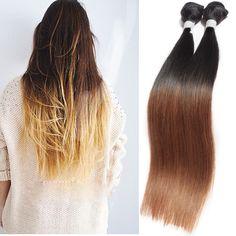 OMGA Brésiliens Vierge Cheveux Ombre Droite Deux Tons 3 Faisceaux 50 g/pcs Non Transformés Tissages de Cheveux Humains Brésiliens Ombre Droite 6a