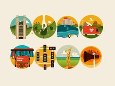 I like the detailed backgrounds with the simple images in the front. Created by Laszlito Kovacs.