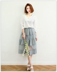 GLAM12 - Sheer-Panel Pleated A-Line Long Skirt
