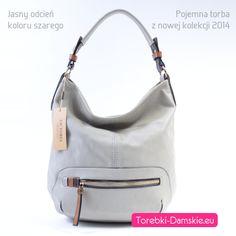 Nowy model torebki - nowość 2014. Mieści format A4. http://torebki-damskie.eu/szare/444-jasnoszara-duza-torba-worek-a4.html #torebki