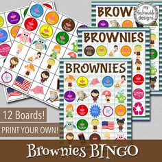 Brownies BINGO Game  Print Your Own