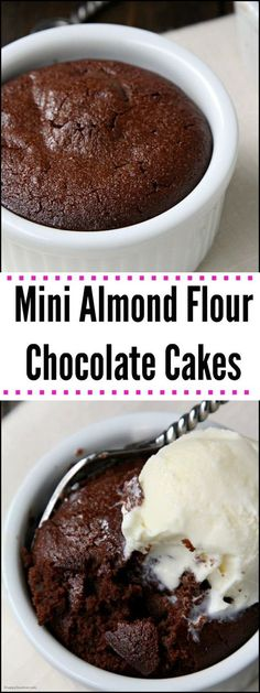 Gluten-Free Mini Almond Flour Chocolate Cakes - easy dessert for two (or more)! http://SnappyGourmet.com