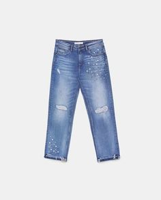 Zara - JEANS WITH PEARL BEADS ON THE HEMS