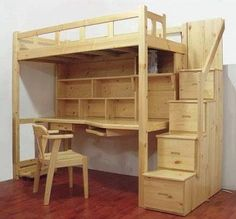 Loft Beds: Maximizing The Area Of Small Spaces – Bunk Beds for Kids Small Room Bedroom, Bedroom Loft, Bedroom Decor, Bunk Beds With Stairs, Kids Bunk Beds, Loft Beds, Loft Bed Plans, Bunk Bed Designs, Dream Rooms