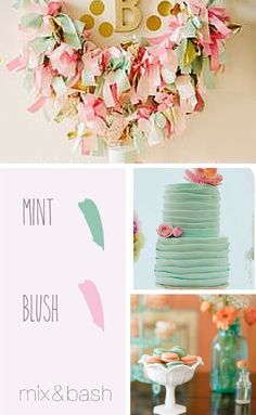 Bridal Shower Colors, Blush Bridal Showers, Color Combos, Color Schemes, Wedding Parties, Pastel Colors, Gold Wedding, Frosting, Mint