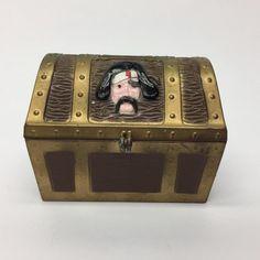 Vintage 1950'S E.J. Kahn Pirate Metal Treasure Chest Still Coin Bank No Lock  | eBay