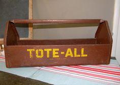 Vintage Industrial Tote All Metal Tool Box by vagabondsandcaravans, $68.00