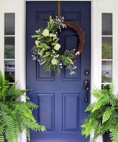 Blue loves Green. It's amazing what a fresh coat of paint, beautiful blooms and greenery can do for a front entrance. Talk about a great…