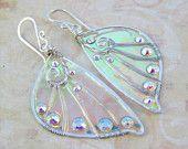 Sidhe Wings Earrings - Daoine Sith in Silver- Iridescent Fairy Wing Earrings