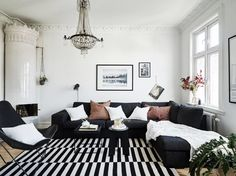 a simple black-and-white palette, brings out the beauty of the original structure