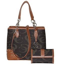 Signature - Concealed Carry Pewter Shoulder Purse w/ Matching Wallet by Cleto (Brown) - Handbags, Bling & More!