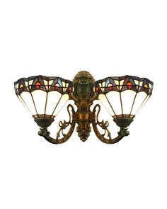 EMS Free Ship Wall Lamp Tiffany Style No.8BW2I Upward Wall Sconces Stained Glass Meditteranean With 2 Lights Home Hallway(China (Mainland))