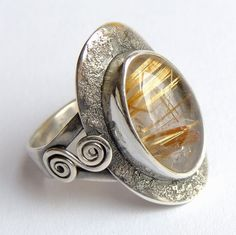 Sterling silver ring,sagenit,golden hair rutilated quartz by Majlagalery on Etsy Sterling Silver Rings, Silver Jewelry, Golden Hair, Rutilated Quartz, Rings For Men, Board, Handmade, Stuff To Buy, Etsy