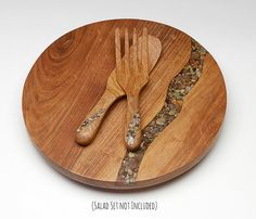 16 Inch Lazy Susan with River Rock Inlay от TreestumpWoodcraft