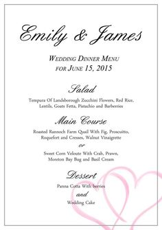 Download Free, Stylish Templates for Your Wedding Menu: Wedding Menu Template from Business Templates