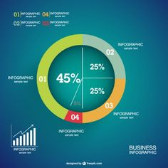 Infographics percentage pie-chart  Free Vector
