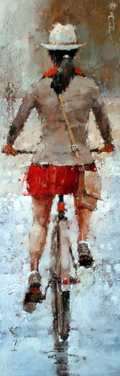 "The City Gal Series #12 Oil 36"" x 12""  http://www.andrekohnfineart.com/"