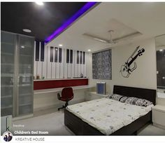 #ThemeBedroom: This bed room designed by #kreativehouse has a music theme. Wherein guitar motif and large piano keyboard is used on the wall adds which acts as an eye-catching design element. Visit www.kreativehouse.asia #interiors #luxury #kreativehouse #top #interiordesigners #Hyderabad #pune #architecture