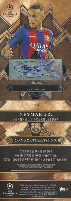 Soccer Cards 183444: 2016-17 Topps Champions League Showcase Soccer Neymar Barcelona Autograph Tca-N -> BUY IT NOW ONLY: $399.95 on eBay!