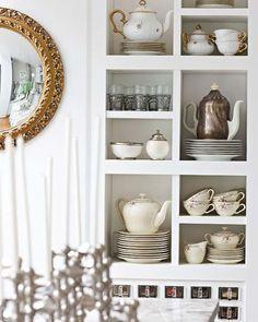 tea pot shelves featuring whites + metallics
