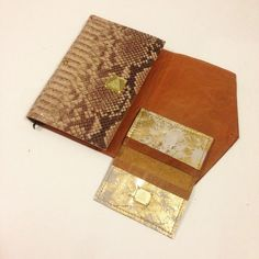 Custom leather #journal & #wallet $110 | #gold #snake #skin #leathers #madeinNY #gift #shop #independent