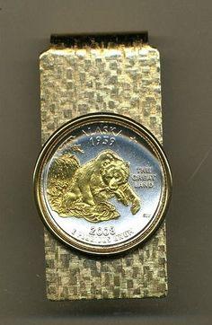 Gold on Silver Alaska State Quarter Hinged Money Clip