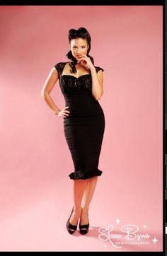 Micheline Dress w/Black Lace @ pinupgirlclothing.com
