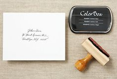 Custom Calligraphy Return Stamp + Ink