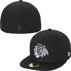 Mens Chicago Blackhawks New Era Black Basic 59FIFTY Fitted Hat