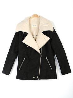 Women Loose Large Lapel Coat Thick Coat Handsome Locomotive Jacket