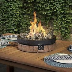 North Woods 16 Inch Northwoods Outdoor Patio Table Top Fire Round Gas Fire Bowl Features Smokeless and Odorless Flame (Tabletop Firebowl) Fire Pit Top, Fire Pit Table Top, Outdoor Fire Pit Table, Deck Fire Pit, Glass Fire Pit, Cool Fire Pits, Gas Fire Table, Patio Table, Propane Patio Fire Pit