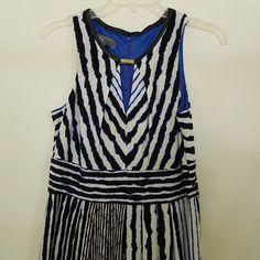 Long Maxi Dress w/Keyhole Size 8 Slinky Stretch Blue White Stripes Sleeveless #DONNARICCO #Maxi #Clubwear