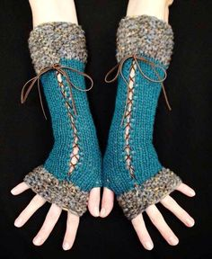 Ok, so it is knit, but I could do this up in crochet easily! Fingerless Gloves Long Corset Arm Warmers Handknit in Dark Turquoise/ Teal Victorian Style Diy Tricot Crochet, Crochet Gloves, Crochet Lace, Crochet Arm Warmers, Lace Gloves, Crochet Mandala, Crochet Afghans, Crochet Blankets, Crochet Granny