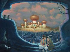 Aladdin - In the Shadows of Agrabah - Original by Rob Kaz presented by World Wide Art Disney Nerd, Disney Marvel, Disney Fan Art, Disney Love, Disney Magic, Funny Disney, Disney Films, Disney And Dreamworks, Disney Cartoons