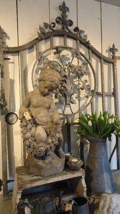 Beautiful vignette with cherub, iron gate, and zinc pitcher. French Decor, French Country Decorating, Vibeke Design, Deco Addict, French Country Style, Garden Statues, Garden Ornaments, Architectural Salvage, Natural Living