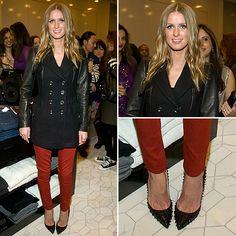 love the red skinnies & spiked heels.
