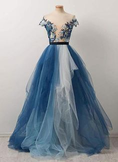 Pretty blue and white tulle V neck cap sleeve long emboridery evening dress, formal dress #prom #dress #promdress #promdresses