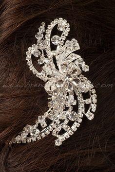 Rhinestone and Crystal Bridal Hair Comb, Wedding Headpiece, Crystal Comb, Bridal Hair Piece - Macy. $54.95, via Etsy.
