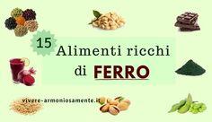 Alimenti ricchi di ferro per combattere l'anemia e prevenire carenze di ferro. Le migliori fonti vegetali di ferro sono legumi, alghe, succo di barbabietola